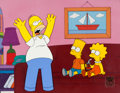 Animation Art:Production Cel, The Simpsons Homer, Bart and Lisa Production Cel Setup (Fox,2001)....