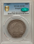 Early Half Dollars, 1807 50C Draped Bust XF40 PCGS Secure. CAC. PCGS Population:(146/431). NGC Census: (89/334). XF40. Mintage 301,076....