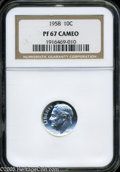 Proof Roosevelt Dimes: , 1958 10C PR 67 Cameo NGC. ...