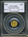 Commemorative Gold: , 1905 G$1 Lewis and Clark MS63 PCGS. ...