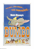 "Movie Posters:Animated, Dumbo (Buena Vista, R-1972). One Sheet (27"" X 41""). Offered here isa theater-used poster for this animated musical directed..."