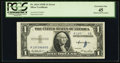 Error Notes:Obstruction Errors, Obstruction Error Fr. 1614 $1 1935E Silver Certificate. PCGSExtremely Fine 45.. ...