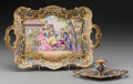 Decorative Arts, French:Other , A Sevres Gilt Bronze, Champleve, and Enameled Porcelain Tray with Associated Inkwell, circa 1900. Marks to plaque: M Guill... (Total: 2 Items)