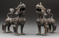 Asian:Chinese, A Pair of Chinese Ming-Style Bronze Qilin Figures. 9-1/4 h x 8 w x4-1/2 d inches (23.5 x 20.3 x 11.4 cm) (each). ... (Total: 2 Items)