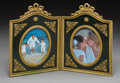 Decorative Arts, French, A Napoleon III Painted and Gilt Bronze Double Picture Frame, circa1870. 9-1/4 inches high x 13-1/4 inches wide (23.5 x 33.7...