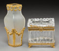 Decorative Arts, French, Two Gilt Bronze Mounted Glass Table Articles, early 20th centuryand later. 6-1/2 inches high (16.5 cm) (vase). ... (Total: 2 Items)