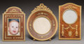 Decorative Arts, French, Three French Empire Gilt Bronze Mounted Mahogany Picture Frames,circa 1820. 8-1/4 inches high (21.0 cm) (tallest, circular ...(Total: 3 Items)