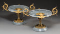 Decorative Arts, French:Other , A Pair of French Neoclassical Gilt Bronze and Gris St. Anne MarbleTazze, late 19th century. 9-3/4 h x 16-3/8 w x 11-1/2 d i...(Total: 2 Items)
