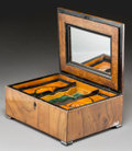 Decorative Arts, British, An English Inlaid Walnut and Burlwood Sarcophagus Jewelry Box, late 19th century. 5-3/4 h x 11-1/2 w x 9 d inches (14.6 x 29...