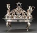 Decorative Arts, Continental, A Norbert Mfg. Co. Judaica Silver Oil Menorah Dish, circa 1950.Marks: STERLING, NORBERT MFG CO., (logotype). 6-1/4 inch...