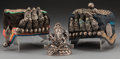 Asian:Chinese, A Silver Alloy Figure of Ganesha with Two Traditional Tibetan Hats.3-1/2 inches high (8.9 cm) (figure). ... (Total: 3 Items)