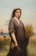 Ceramics & Porcelain, Continental, A Continental Allegorical Porcelain Plaque: Ruth, late 19thcentury. Marks to front: R. Dittrich. Marks to rever...