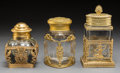 Decorative Arts, French, Three Baccarat-Style Gilt Bronze Mounted Cut-Glass Covered Jars,late 19th/ 20th century. 6-3/4 inches high (17.1 cm) (talle...(Total: 3 Items)