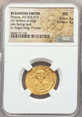 Ancients:Byzantine, Ancients: Phocas (AD 602-610). AV solidus (4.45 gm). NGC MS 4/5 -4/5....