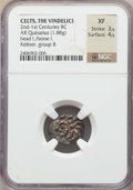 Ancients:Celtic, Ancients: CENTRAL EUROPE. The Vindelici. Ca. 2nd-1st centuries BC.AR quinarius (1.88 gm). NGC XF 3/5 - 4/5....