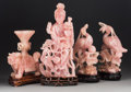 Asian:Chinese, Four Chinese Rose Quartz Carvings on Hardwood Stands. 15-1/2 inches high (39.4 cm) (tallest, on stand). PROPERTY FROM A LO... (Total: 4 Items)