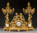 Clocks & Mechanical:Clocks, A Three-Piece Louis XV-Style Gilt Bronze Figural Clock Garniture, late 19th-early 20th century. 14-1/2 h x 17 w x 6 d inches... (Total: 3 Items)