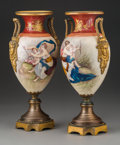Ceramics & Porcelain, Continental, A Pair of Royal Vienna-Style Enameled Porcelain and Gilt Bronze-Mounted Urns, late 19th-early 20th century. Marks: H. Comb... (Total: 2 Items)