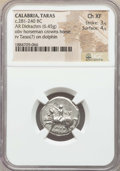 Ancients:Greek, Ancients: CALABRIA. Tarentum. Ca. 272-240 BC. AR stater or didrachm(6.45 gm). NGC Choice XF 3/5 - 4/5....