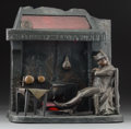 Decorative Arts, Continental:Lamps & Lighting, A Bronzed Illuminated Sculpture of Napoleon Sleeping at a HearthAfter Luighi Salesio: Veille de Wagram, 20th centur...