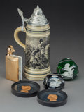 Decorative Arts, French, Six Napoleonic Tablewares Including Baccarat Sulfide Paperweights,20th century. 9-1/2 inches high (24.1 cm) (tallest, tanka...(Total: 6 Items)