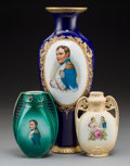 Decorative Arts, Continental, Three Austrian Napoleonic-Themed Porcelain Vases, early 20thcentury and later. Marks: (various). 12-3/4 inches high (32.4 c...(Total: 3 Items)