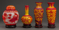Asian, Four Chinese Peking Glass Vessels, 20th century. 10-3/4 inches(27.3 cm) (tallest, without stand). ... (Total: 4 Items)
