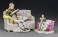 Decorative Arts, Continental, Two Porcelain Figural Groups of Napoleon Reading to Child, early20th century. Marks: (Scheibe-Alsbach cipher). 6-1/2 h x 7-...(Total: 2 Items)