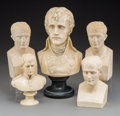 Decorative Arts, Continental, Five Various Cream Busts of Napoleon Bonaparte. 10-1/2 inches high(26.7 cm) (tallest). PROPERTY FROM THE ESTATE OF CHARLE... (Total:5 Items)