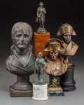 Decorative Arts, French, Five Various Bronze and Cast Plaster Napoleonic Busts and Figures,early 20th century and later. Marks: (various). 11-1/2 in...(Total: 5 Items)