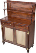 Furniture : English, An English Regency Mahogany Chiffonier Cabinet, 19th century. 50-1/2 h x 35-1/2 w x 15-3/4 d inches (128.3 x 90.2 x 40.0 cm)...