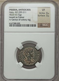 Ancients:Roman Provincial , Ancients: PISIDIA. Antiochia. Geta as Caesar (AD 209-211). AE23(5.72 gm). NGC VF 4/5 - 3/5....