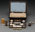 Decorative Arts, British:Other , An English Regency-Style Burled Wood and Mother-of-Pearl SewingKit, first half 19th century. 5-1/4 h x 8-1/2 w x 5-3/4 d in...