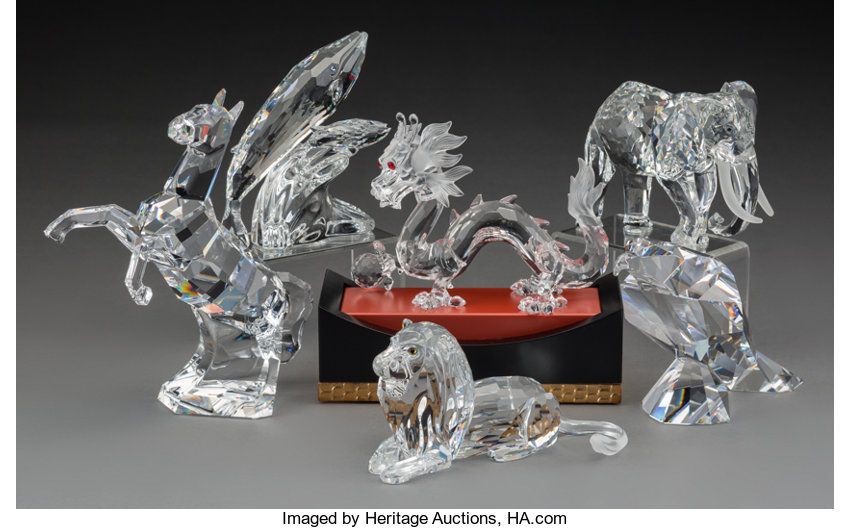 3e949f72ee9f Six Swarovski Crystal Animals with Collector s Stand in