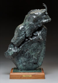 Sherry Salari-Sander (American, b. 1941) Mountain Goat, 85 Bronze with green patina 22 inches (55