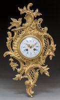 Decorative Arts, Continental:Other , A Louis XV-Style Gilt Bronze Cartel Clock, circa 1875. Marks: (JapyFreres medallion), W, 33084. 19 h ...