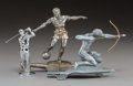 Decorative Arts, Continental, Three English and Continental Nickel and Chromed MaleAthlete Automobile Mascots, circa 1930-1940 and later. 7 i...(Total: 3 Items)
