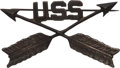 """Militaria:Insignia, Scarce Authentic """"USS"""" Uniform Hat Insignia for an Indian Scout...."""
