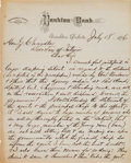Military & Patriotic:Indian Wars, Governor Newton Edmunds: Extraordinary Autograph Letter Signed, Dated July 18,1876, from the Former Governor of the Dakota Ter... (Total: 2 Items)