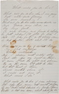 Military & Patriotic:Indian Wars, Margaret Custer Calhoun: Manuscript Lament as the 7th Departed from Fort Abraham Lincoln. ...