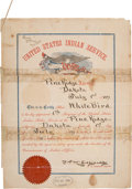 Military & Patriotic:Indian Wars, White Bird: Colorful Certificate Appointing Him to the Indian Police....