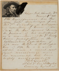 George Armstrong Custer: A Fine 1875 Letter in His Hand, Written as Commanding Officer of the 7th Cavalry
