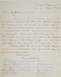 Military & Patriotic:Indian Wars, Document Signed in 1874 by Seventeen 7th Cavalry Troopers who Perished at Little Bighorn on June 25, 1876....