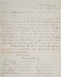 Document Signed in 1874 by Seventeen 7th Cavalry Troopers who Perished at Little Bighorn on