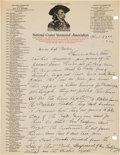 Military & Patriotic:Indian Wars, D. F. Barry: Autograph Letter Signed, April 22, 1926, Regarding the Upcoming 50th Anniversary Commemoration of the Little Bigh...