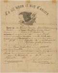 Military & Patriotic:Indian Wars, Document of Discharge for Indian Scout Round Wooden Cloud, Signed by Maj. Marcus Reno and 1st Lt. George D. Wallace. ...