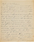 Military & Patriotic:Indian Wars, Charles Varnum: Colorful Autograph Letter Signed to Colonel W. A. Graham about The Battle. ...