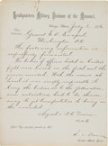 Military & Patriotic:Indian Wars, Telegram Regarding Burial of the officers at Little Bighorn: A Copy Signed by Assistant Adjutant General R. C. Drum....