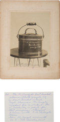 """Military & Patriotic:Indian Wars, Patent Photograph of the """"McDougall Bait Bucket.""""..."""