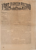 Military & Patriotic:Indian Wars, Fort Benton Record: Newspaper for August 21, 1875....